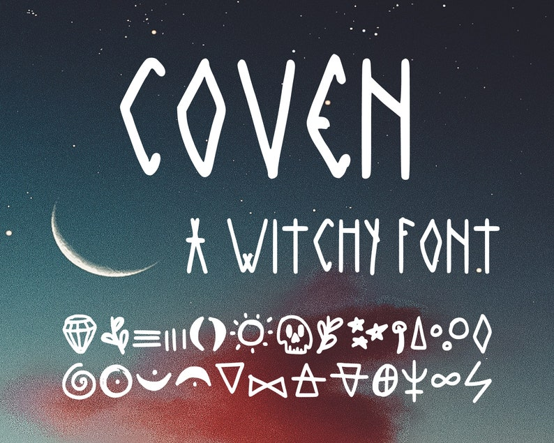 COVEN handwritten downloadable instant font custom handwriting witchy witch  goth gothic journal moon night gypsy commercial astrology