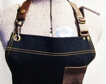 Small plus size Denim and Leather pocket Apron, Unisex, Workshop, Vendor, Cafe, Barista, Restaurant, Made in Canada