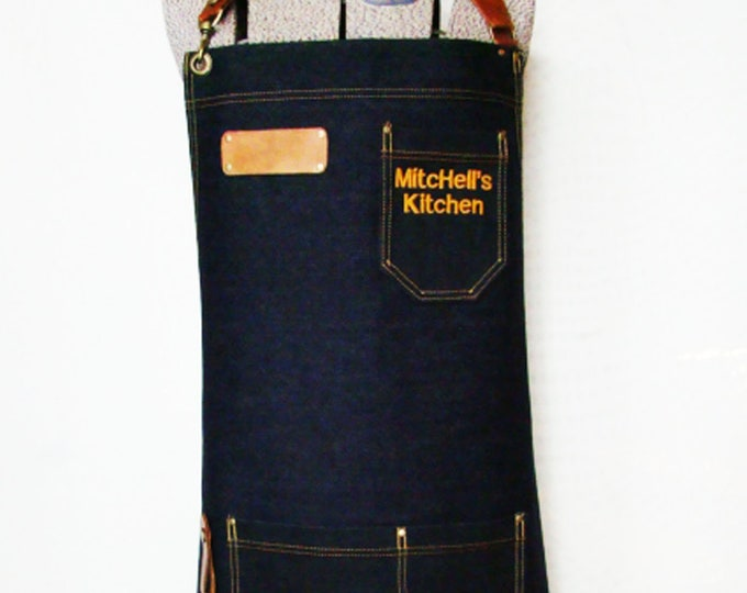 Personalized Embroidered Denim and leather Apron with detachable belts, towel/tool ring Unisex. Chef, Vendor, Cook, Caterer. Made in Canada
