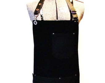 Plus size Black Bull Denim and Leather pocket Apron with a towel/tool ring. Unisex, Made in Canada. Food service restaurant uniform, Chefs.