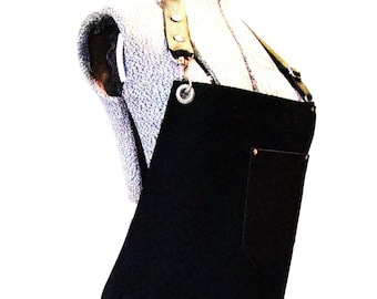 Black Bull Denim and Leather pocket Apron with a towel/tool ring. Unisex, Made in Canada. Food service restaurant uniform, Chefs.