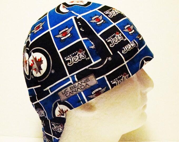 "23 1/2"" Winnipeg Jets NHL Canadian Hockey welders cap Size 7 1/2 hard hat liner reversible beanie skull cap construction tradesman fitter"