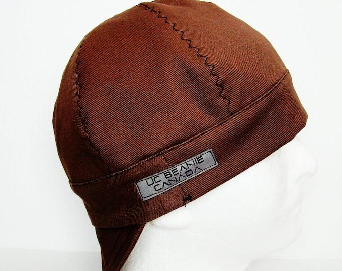 Brown Work Canvas Heavy Duty welders cap hard hat liner reversible beanie skull cap construction tradesman gasfitter biker