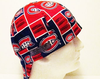 "22 1/4"" Montreal Canadians NHL Canadian Hockey welders cap Size 7 1/8 hard hat liner reversible beanie skull cap construction trades fitter"