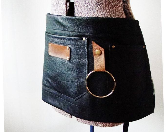 Leather 3 pocket Half Apron Unisex, Workshop, Wood shop, Artist, Tattooist,  Barber, Florist, Teacher, Made in Canada