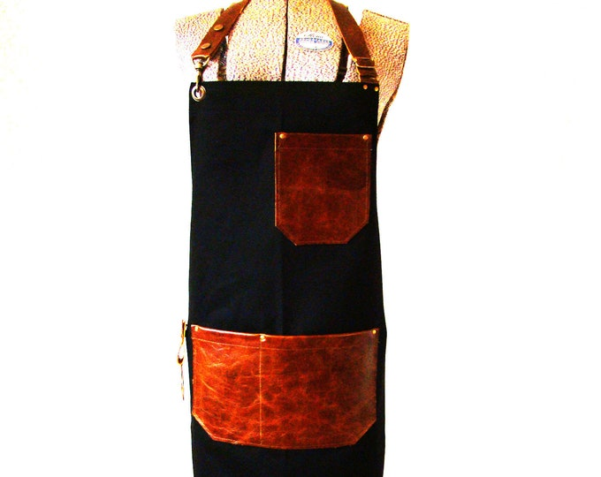 Black Bull Denim and Brown Leather pocket Apron with a towel/tool ring. Unisex, Made in Canada. Food service restaurant uniform, Chefs.