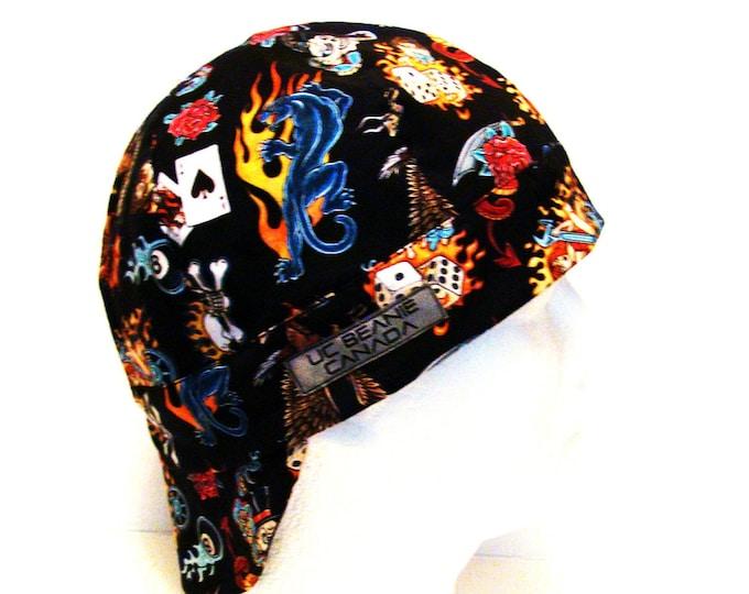Tatts for life tattoo welders cap hard hat liner reversible beanie skull cap construction tradesman gasfitter biker