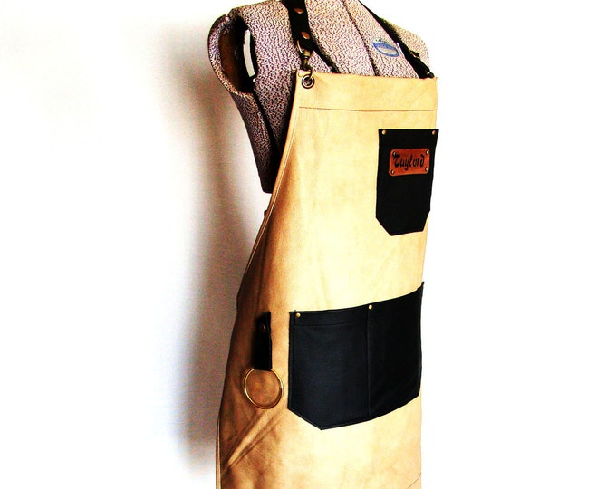 Tan and Black Leather Work shop Apron, Personalized, Made in Canada. Butcher, Blacksmiths, Tattooist, Metal fabricator, Chefs