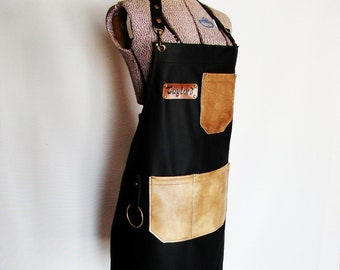 Black Leather Work shop Apron, Personalized, Made in Canada. Butcher, Blacksmiths, Tattooist, Metal fabricator, Chefs