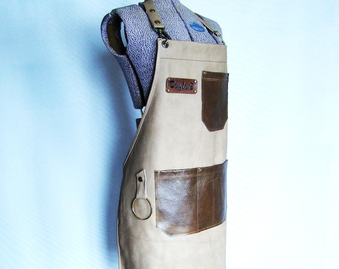 Tan Leather Work shop Apron, Personalized, Made in Canada. Butcher, Blacksmiths, Tattooist, Metal fabricator, Chefs