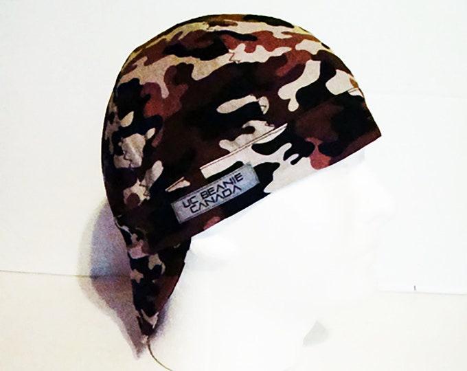 Brown Camouflage welders cap hard hat liner beanie skull cap construction tradesman gas fitter biker