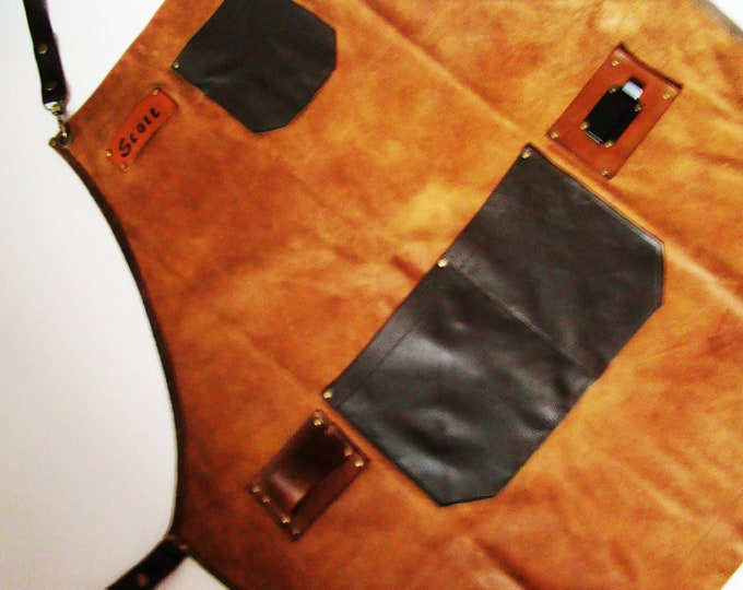 Crossback Leather Work shop Apron with tape measure and hammer sling Personalized Made in Canada Craftsman Wood Worker Blacksmiths Metal fab