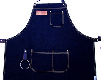 X Large Plus size Denim Apron with detachable leather belts and a towel/tool ring, Unisex, Made in Canada. Chef, Cook, BBQ, Carpenter.