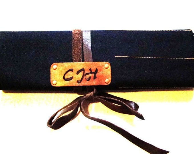Denim and leather Large tool knife Utility roll personalized portable organizer case chef Bar-B-Que Caterer Vendor Field worker