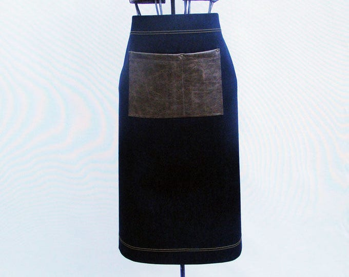 Denim and Leather Bistro Apron with towel/tool ring. Personalized for staff, cafe, coffee shop, waitress, waiter, home cook, made in Canada