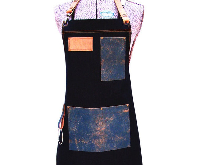 Retro Denim and Leather pocket Utility Apron with a towel/tool ring Unisex, Personalized, Made in Canada. Work shop, Vendor, Hipster, Server