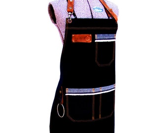 Denim Utility Apron with detachable leather belts and a towel/tool ring. Personalized, Unisex, Vendor, Work shop, Restaurant, Made in Canada