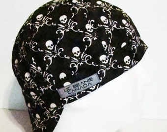 0824c68555c51 Black Skulls welders cap hard hat liner beanie skull cap construction  tradesman gas fitter biker