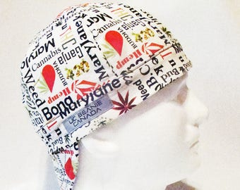 Marijuana words welders cap hard hat liner beanie skull cap construction tradesman gasfitter biker