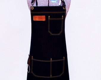 Denim Apron with detachable leather belts and towel/tool ring Unisex Personalized, Chef, Vendor, BBQ, DIY, Caterer. Carpenter.Made in Canada