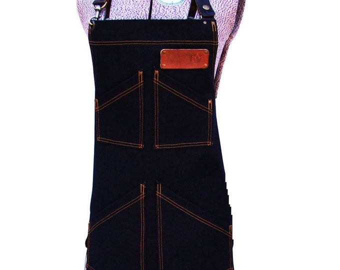 Double Denim Apron with detachable leather belts and a towel/tool ring, Personalized, Made in Canada. Chefs gear, BBQ, Craftsmen, Vendor.
