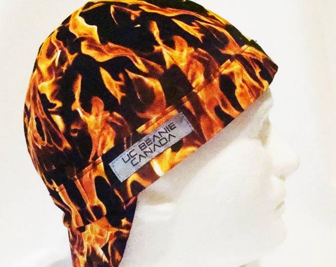 Fire flames welders cap hard hat liner reversible beanie skull cap construction tradesman gas fitter biker
