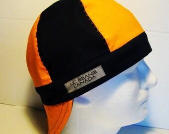 Orange and Navy welders cap hard hat liner reversible beanie skull cap construction tradesman  gasfitter biker