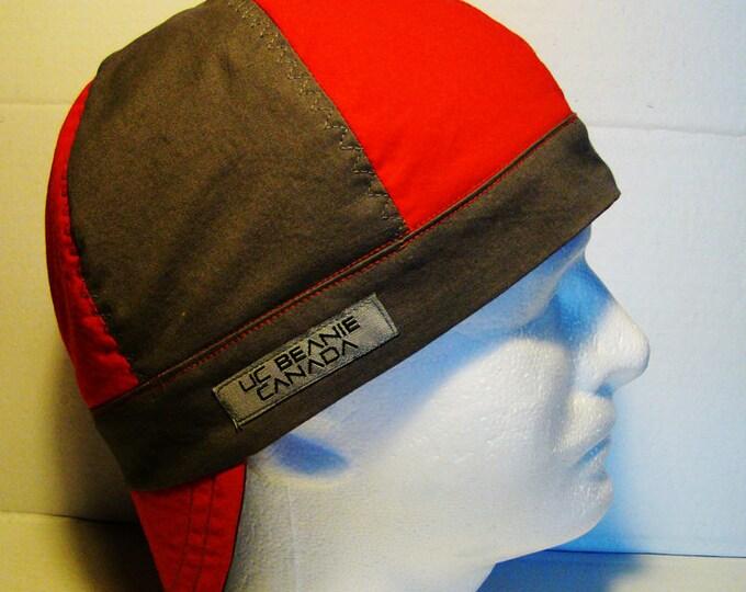 Red and Grey welders cap hard hat liner reversible beanie skull cap construction tradesman gasfitter biker