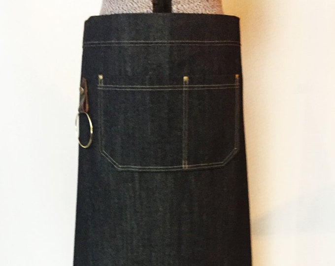 Denim and Leather Bistro Apron with detachable belts and towel/tool ring. Personalized for staff, cafe, waitress, waiter, made in Canada