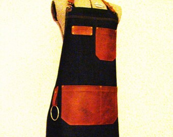 Plus Size Denim and Leather pocket Apron with a towel/tool ring. Personalized. Unisex, Workshop, Vendor, Chef, Made in Canada.