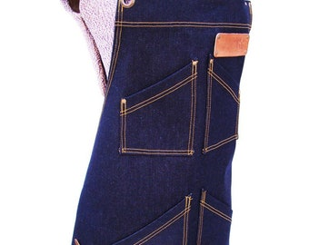 Plus size Denim Apron with detachable leather belts and a towel/tool ring, Personalized, Unisex, Made in Canada. Carpenters, Chefs, Vendors.