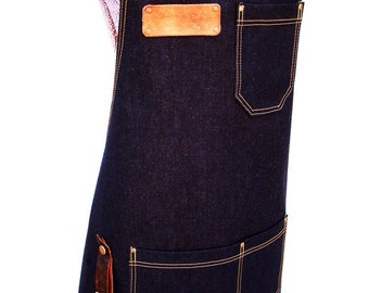 Personalized Plus Size Denim Apron with detachable leather belts and a towel/tool ring. Unisex, Made in Canada. Studio, workshop, Kitchen.