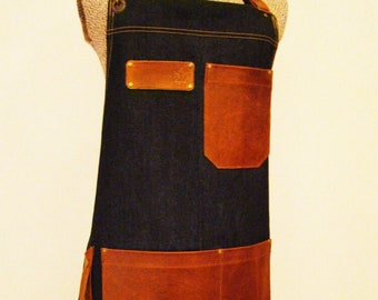 Crossback Denim and Leather Apron with towel/tool ring. Unisex, Personalize, Made in Canada.
