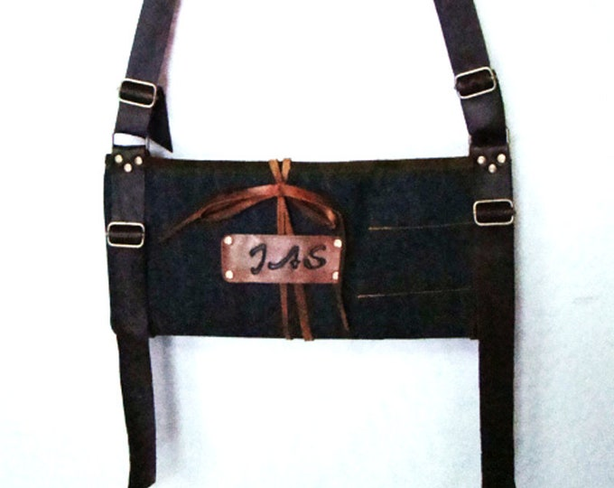 Personalized Denim and leather Large tool knife Utility roll with shoulder strap.  portable organizer case chef Bar-B-Que Caterer Field work