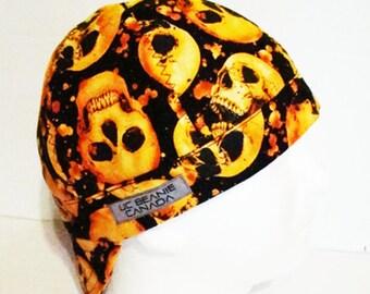 ef26836e446 Personalized Orange Skulls welders cap hard hat liner beanie skull cap  construction tradesman gas fitter biker