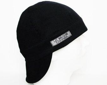 Black Canvas Heavy Duty welders cap hard hat liner reversible beanie skull cap construction tradesman gasfitter biker