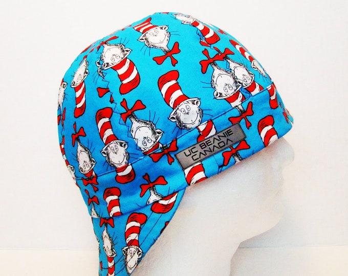 "24"" Cat in the Hat welders cap Size 7 5/8 hard hat liner beanie skull cap construction tradesman gas fitter biker"