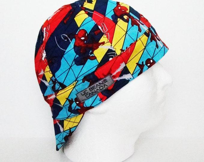 "23"" Spiderman welders cap Size 7 3/8 hard hat liner beanie skull cap construction tradesman gas fitter biker"