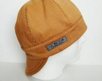 Tan Work Canvas Heavy Duty welders cap hard hat liner reversible beanie skull cap construction tradesman gasfitter biker