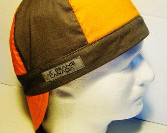 Orange and grey welders cap hard hat liner reversible beanie skull cap construction tradesman gasfitter biker