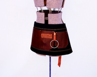 Denim and Leather pocket Half Apron with towel/tool ring. Personalized, Made in Canada. food service restaurant uniform, waiter, waitress.
