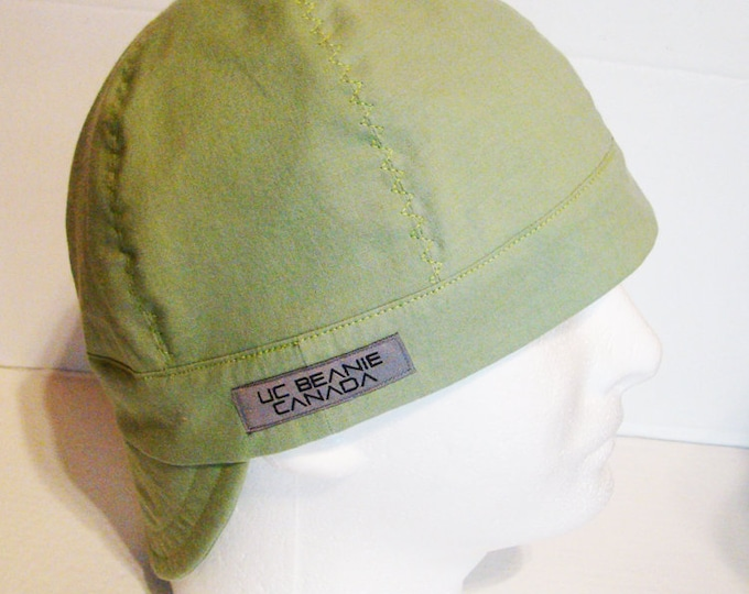 PPE Light Green welders cap hard hat liner reversible beanie skull cap construction tradesman gasfitter biker medical cap surgeons cap nurse