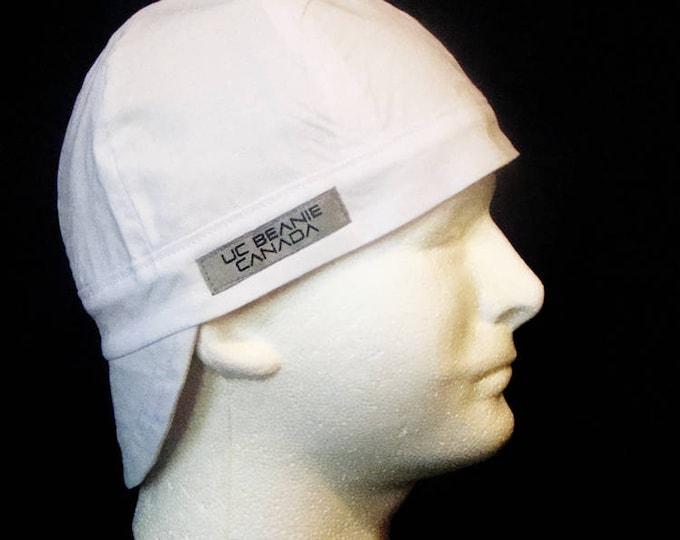 PPE Foreman's White welders cap hard hat liner beanie skull cap construction tradesman foreman gasfitter biker medical cap surgeons cap