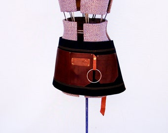 Plus Size Denim and Leather pocket Half Apron. Unisex, Personalized. Restaurant uniform Barista, Vendor, Cafe, Made in Canada
