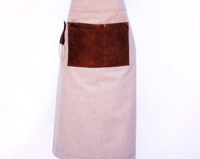 Retro Striped Cotton with leather pocket and a towel/tool ring Bistro Apron. Unisex, Personalize, Made in Canada.