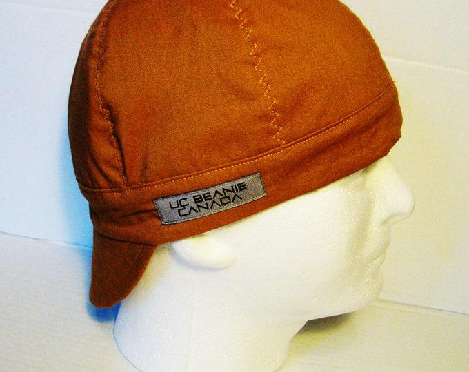 PPE Duck brown tan welders cap hard hat liner reversible beanie skull cap construction tradesman gasfitter biker medical cap surgeons cap