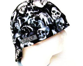 "24"" Black Smoke N Skulls welders welding cap Size 7 5/8 hard hat liner reversible beanie skull cap construction tradesman gas fitter biker"