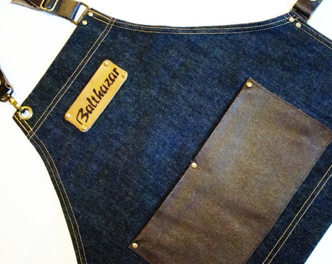 Personalized Child's Denim and Leather Apron art craft cook play