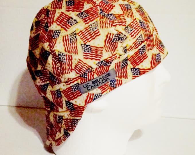 """22 5/8"""" USA welders cap size 7 1/4 hard hat liner beanie skull cap construction tradesman gasfitter biker"""