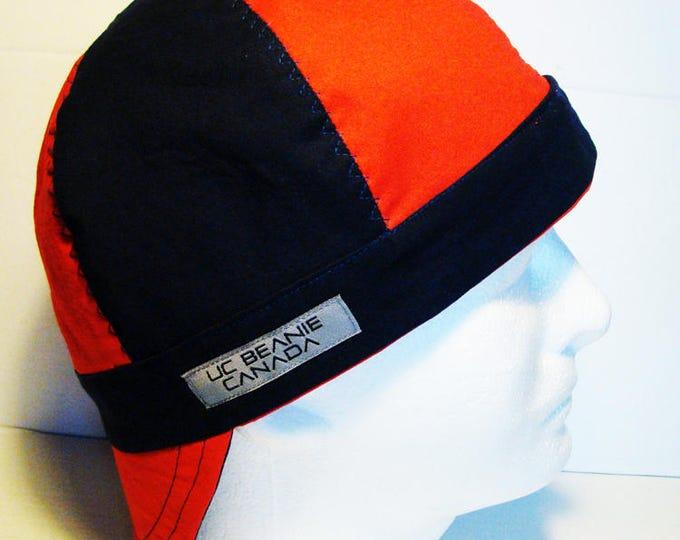 Red and Navy welders cap hard hat liner reversible beanie skull cap construction tradesman gasfitter biker
